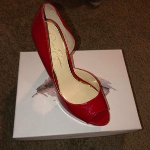 Jessica Simpson red patent letter heels